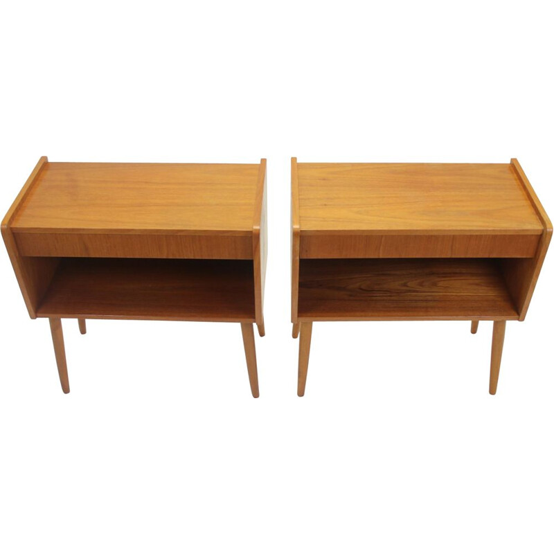 Pair of vintage bedside tables with drawer, Danish 1960s