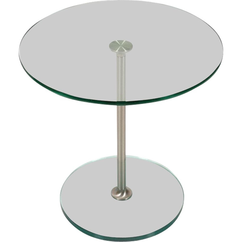 Vintage side table with glass and brushed aluminum