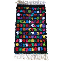 Small Multicolored Boucherouite Moroccan Rug - 2000