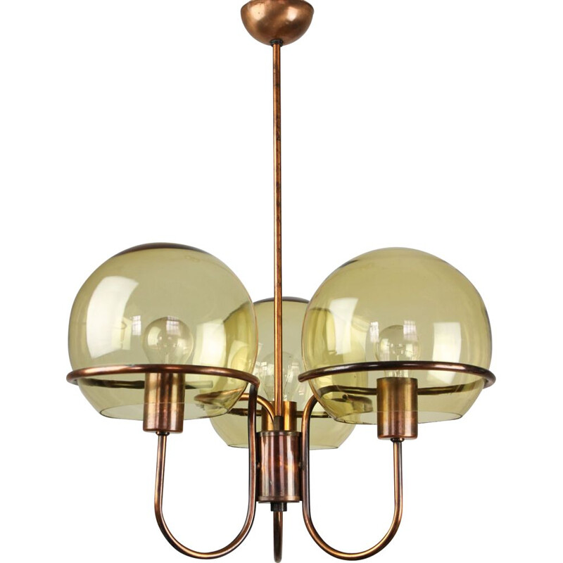 Minimalist vintage chandelier in glob glass