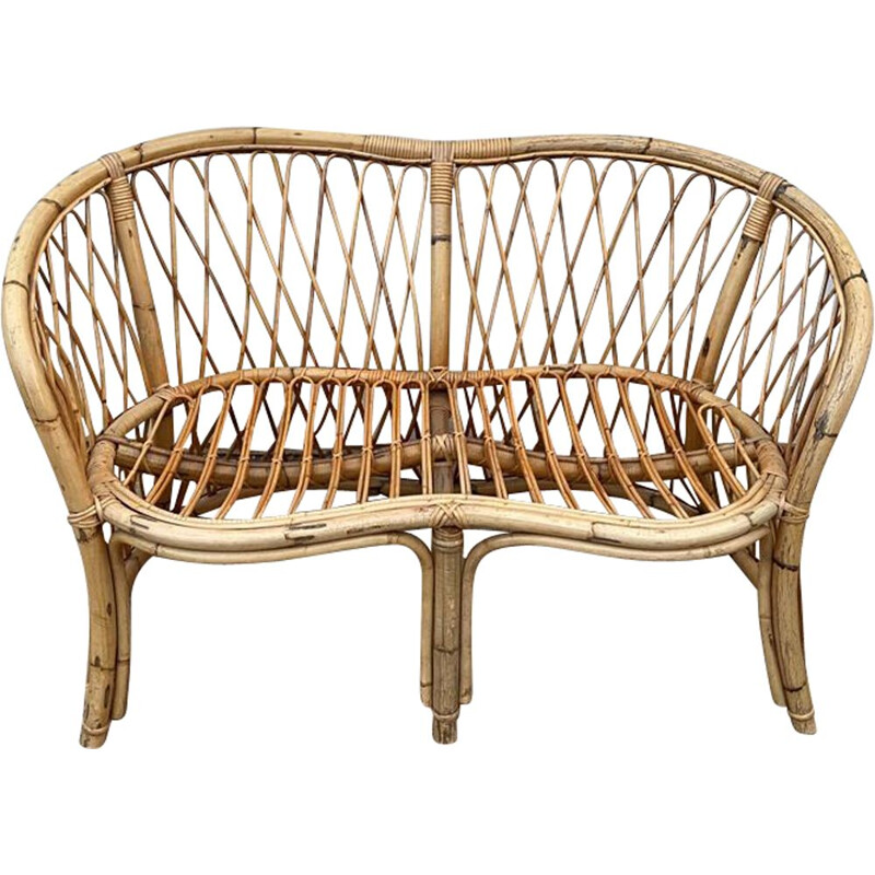 Vintage 2-seater rattan bench 1960