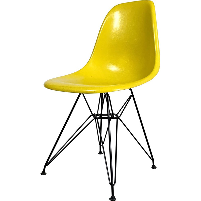 Vintage Yellow DSW Dining Chair by Charles & Ray Eames for Herman Miller, 1980s