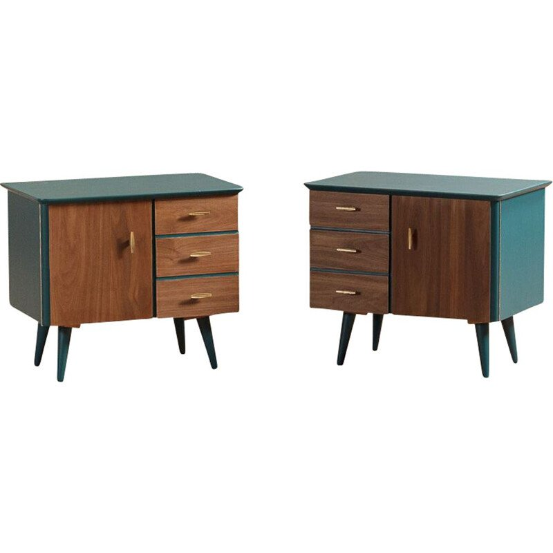 Pair of vintage bedside table on duck blue compass feet, 3 drawers and doors in walnut, brass plated steel handles
