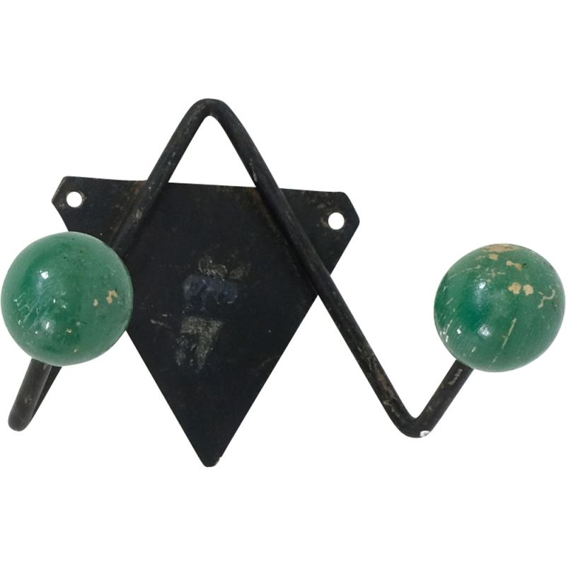 Vintage coat rack green 1960