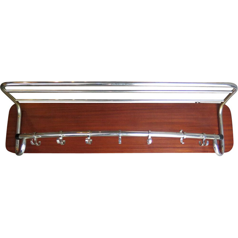 Vintage coat rack chrome-plated in a wood plank 1950