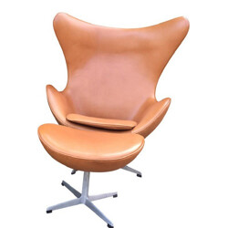 Cognac leather Egg chair and ottoman, Arne JACOBSEN - 1960s