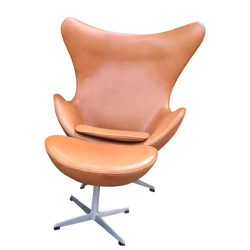Cognac Leather Egg Chair And Ottoman, Arne JACOBSEN   1960s