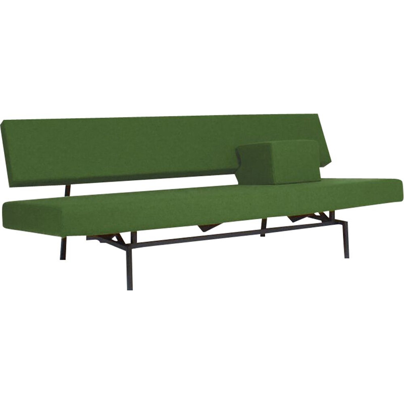 Vintage green sofa bed with armrest Martin Visser for Spectrum, Netherlands 1960