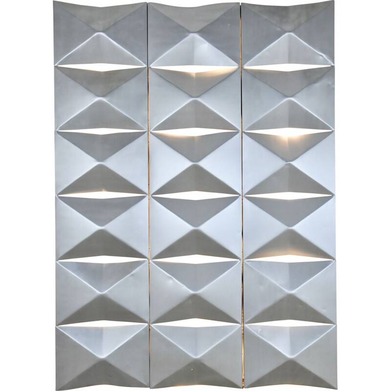 Set of 3  vintage aluminum light panels 1960's