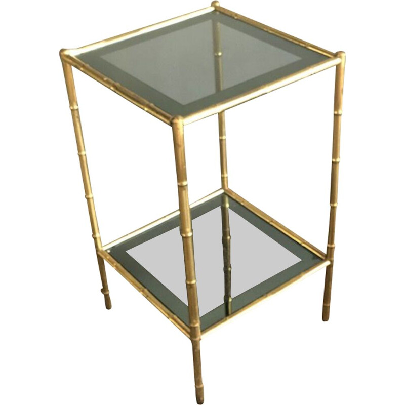 Vintage Brass and Tinted Glass Side Table from Maison Baguès, France 1960