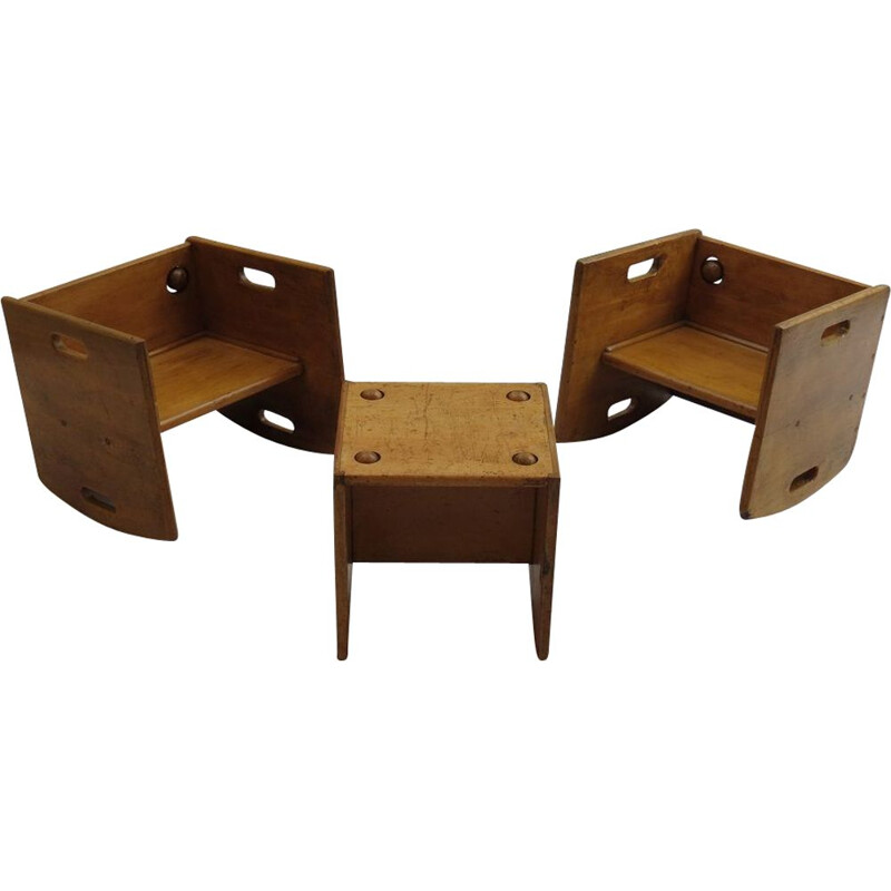 Set of 3 Vintage Wooden Childs Chair 1950s