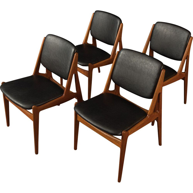 Set of 4 Vintage dining chairs by Arne Vodder for Vamo, model Ella in solid teak 1960s