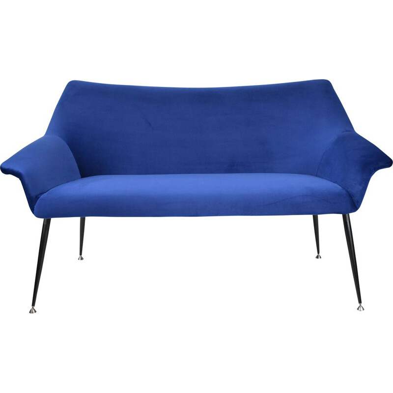 Vintage 2-seater Sofa, German Democratic Republic blue ink velvours fabric, chrome 1960s