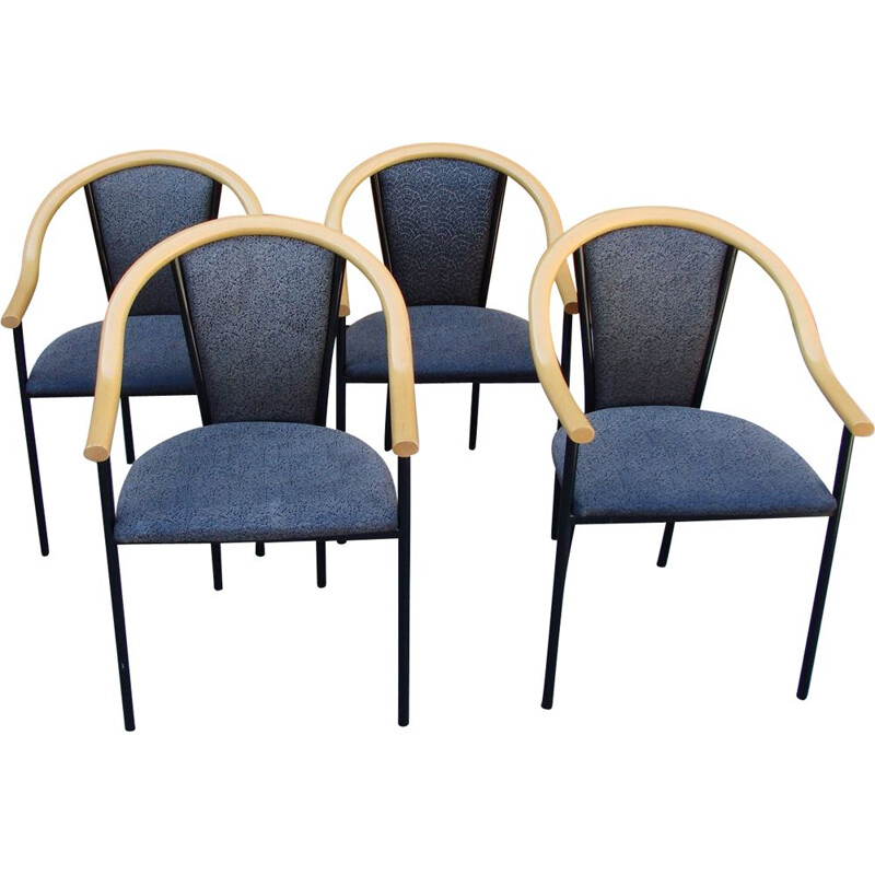 Set of 4 vintage chairs metal 1970s