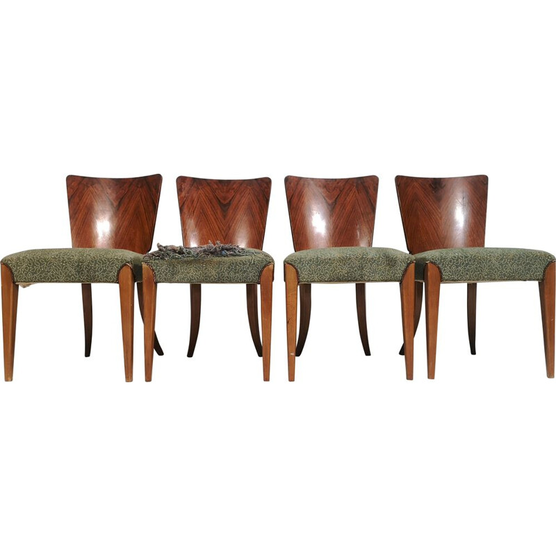 Set of 4 vintage Dining Chairs by Jindřich Halabala, Art Deco 1940s