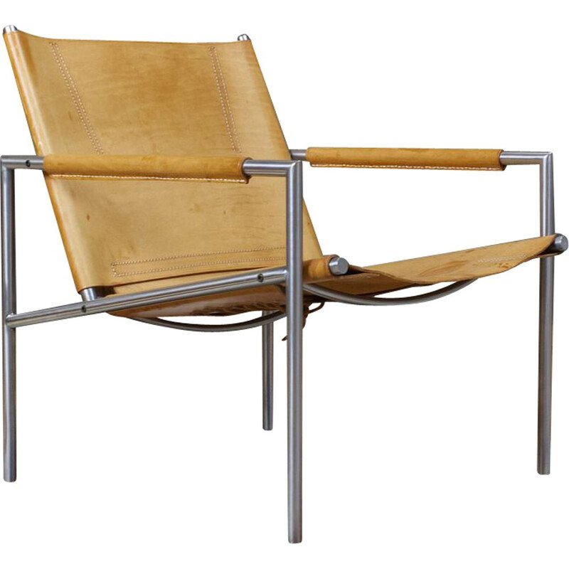 Vintage SZ02 lounge chair in saddle leather by Martin Visser, 1960s