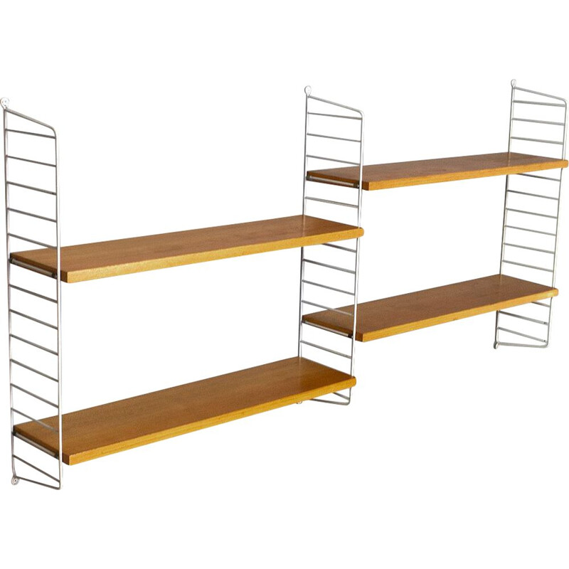 Vintage String Shelving unit in Birch, 1960s