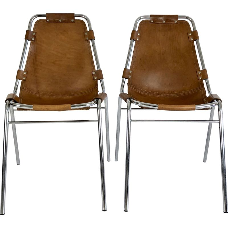 Pair of Vintage Leather chairs selected by Charlotte Perriand for Les Arcs 1960s