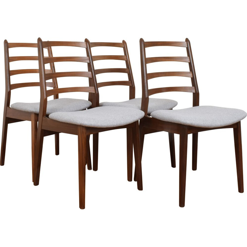 Set Of 4 Mid Century Teak Dining Chairs, Danish 1960s