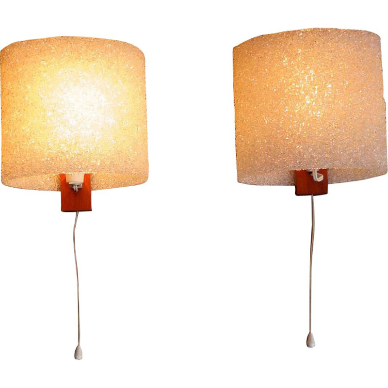 Pair of vintage wall lamps plastic and teak holder 1960