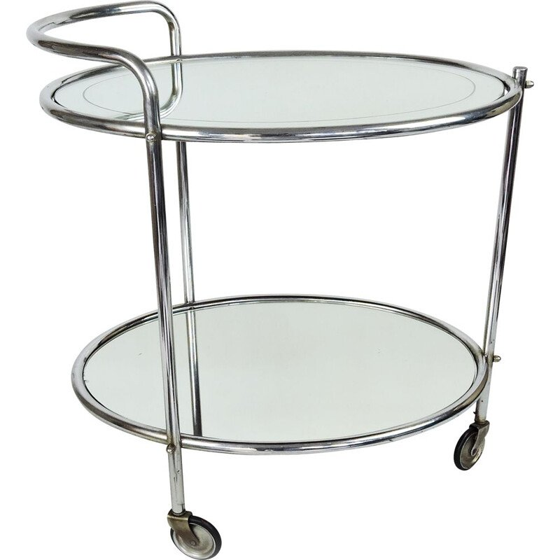 Vintage Mirrored Glass and Chrome Drinks Trolley French 1950s