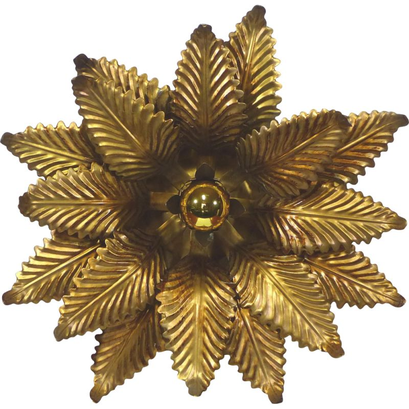 Vintage brass flower wall lamp, Italy 1970