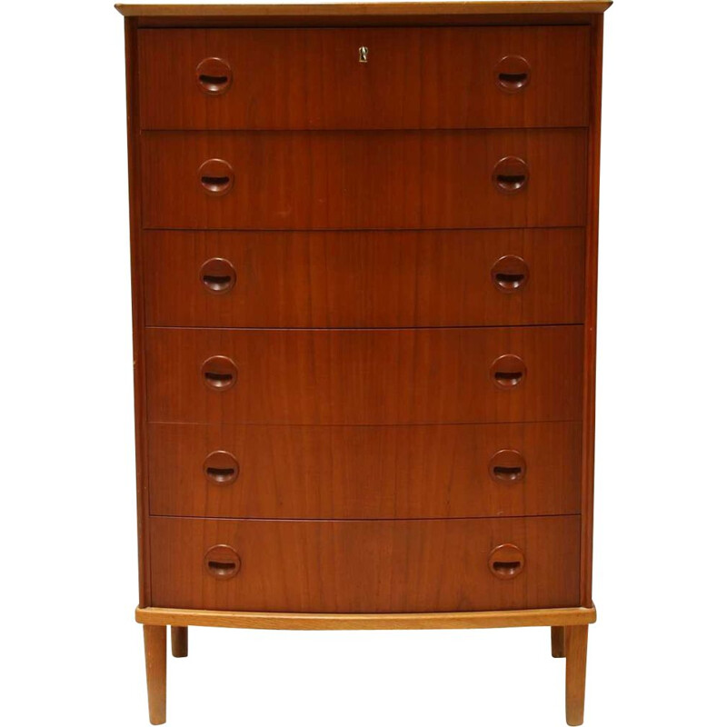 Vintage teak modern 6-drawer chest of drawers by Kai Kristiansen, Danish