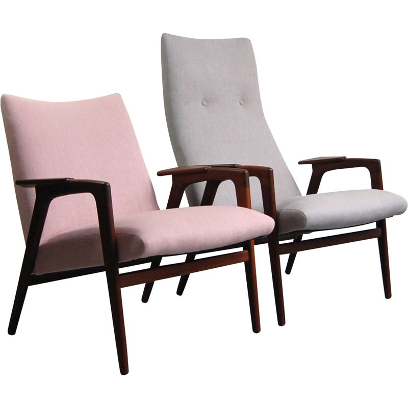 Pair of armchairs and footrest vintage Pastoe 1958