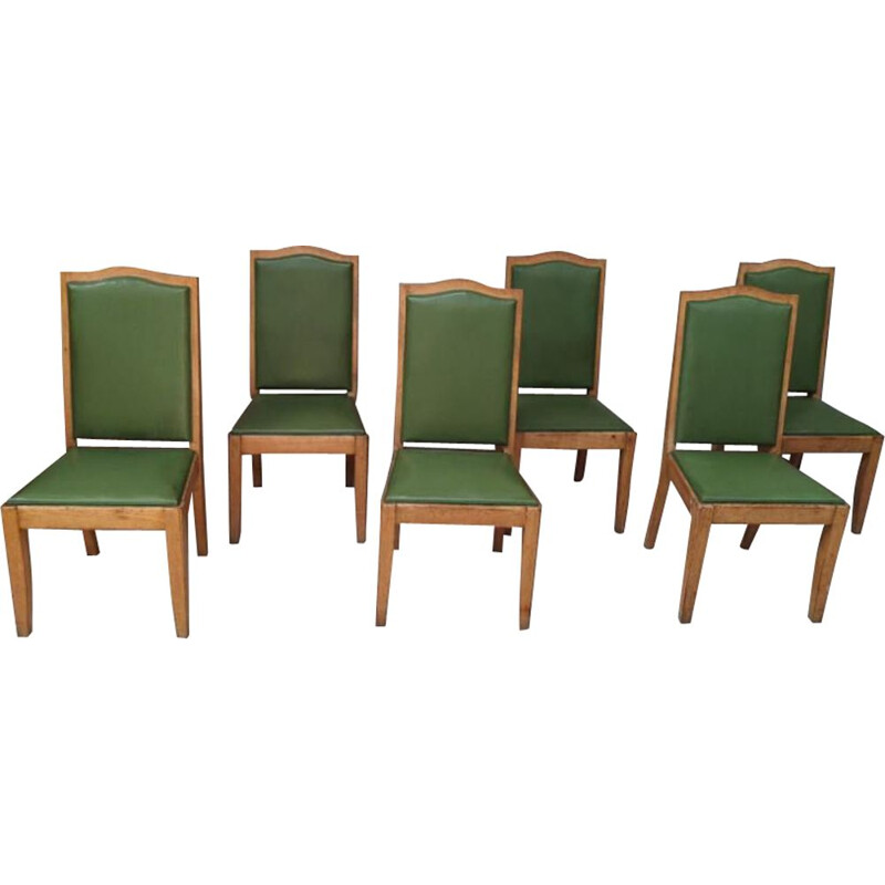 6 vintage gaston poisson chairs in oak, art deco 1940