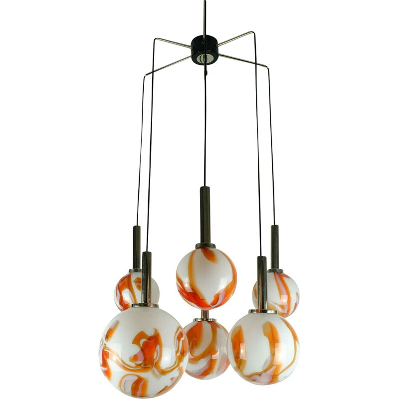 Mid century Pendant light cascading lamp 6 Murano glass shades and chrome 1960s