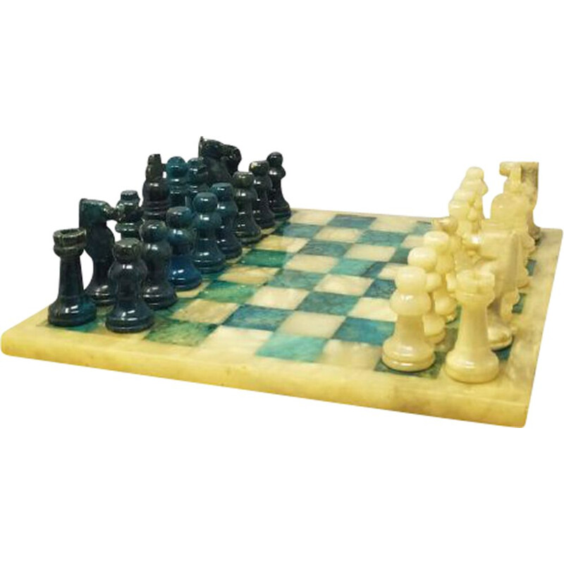 Vintage Blue and Beige Chess Set in Volterra Alabaster Handmade Italian 1960s