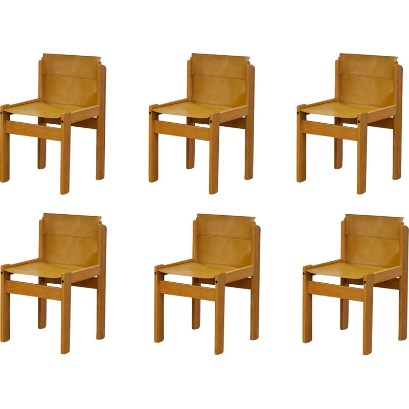 Set of 6 Vintage  Saddle Leather Sling Chairs from Ibisco,Italian 1969