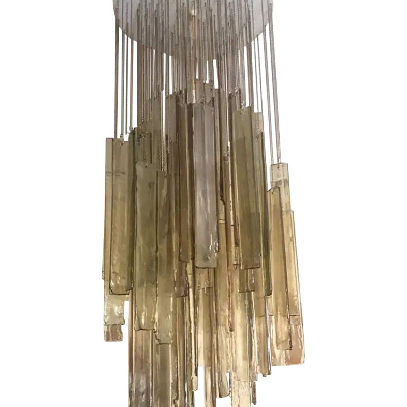 Light vintage Brown Murano Glass Cascading Chandelier 1970