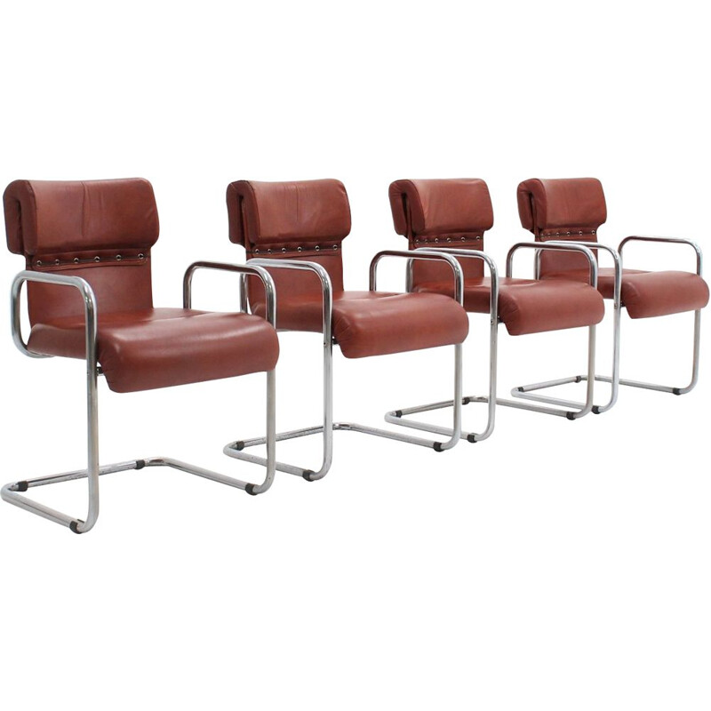 Set of 4 Vintage Leather dining chairs Guido Faleschini 1970s