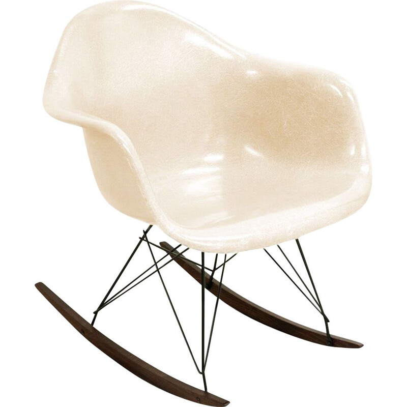 Rocking chair vintage RAR Parchment by Charles & Ray Eames Herman Miller