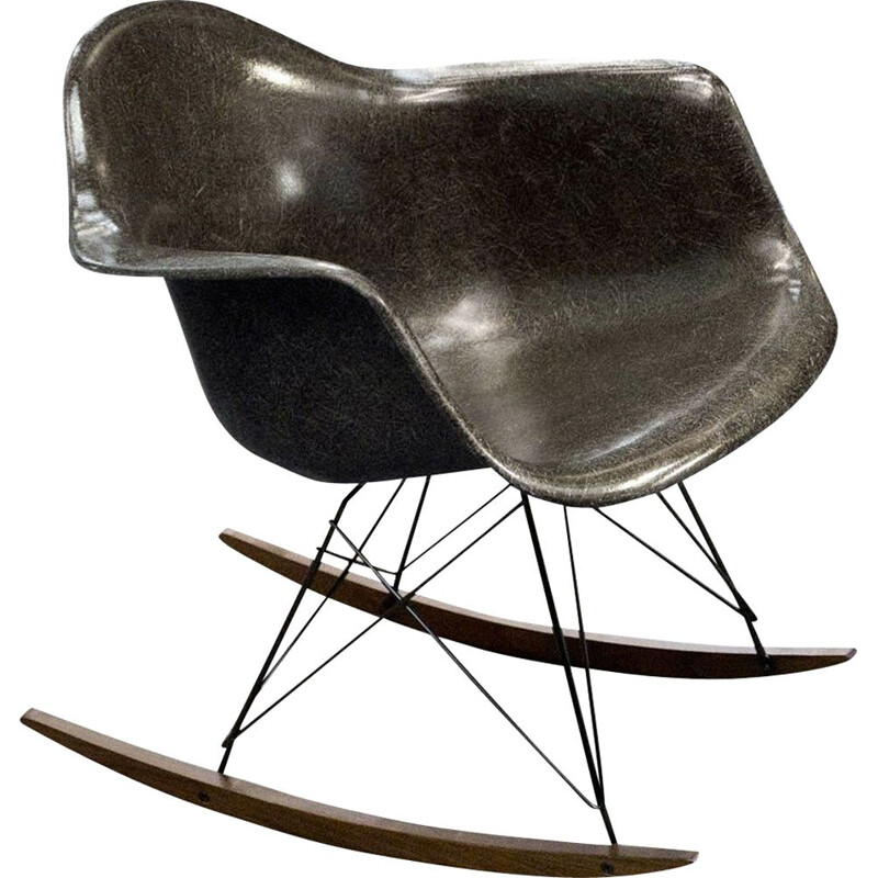 Vintage Rocking Chair Seal Brown de Charles & Ray Eames Herman Miller