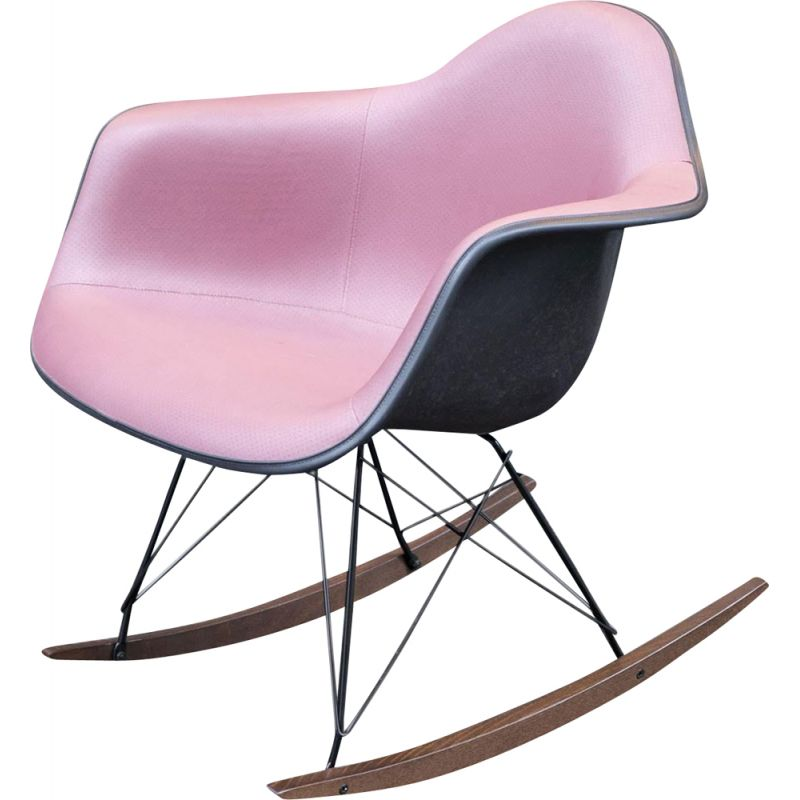Rocking chair vintage RAR Black and Pink from Charles & Ray Eames Herman Miller