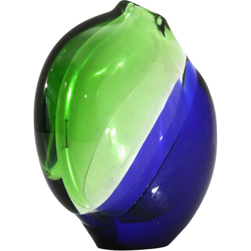 Vintage Green and blue Murano glass vase, 1960s