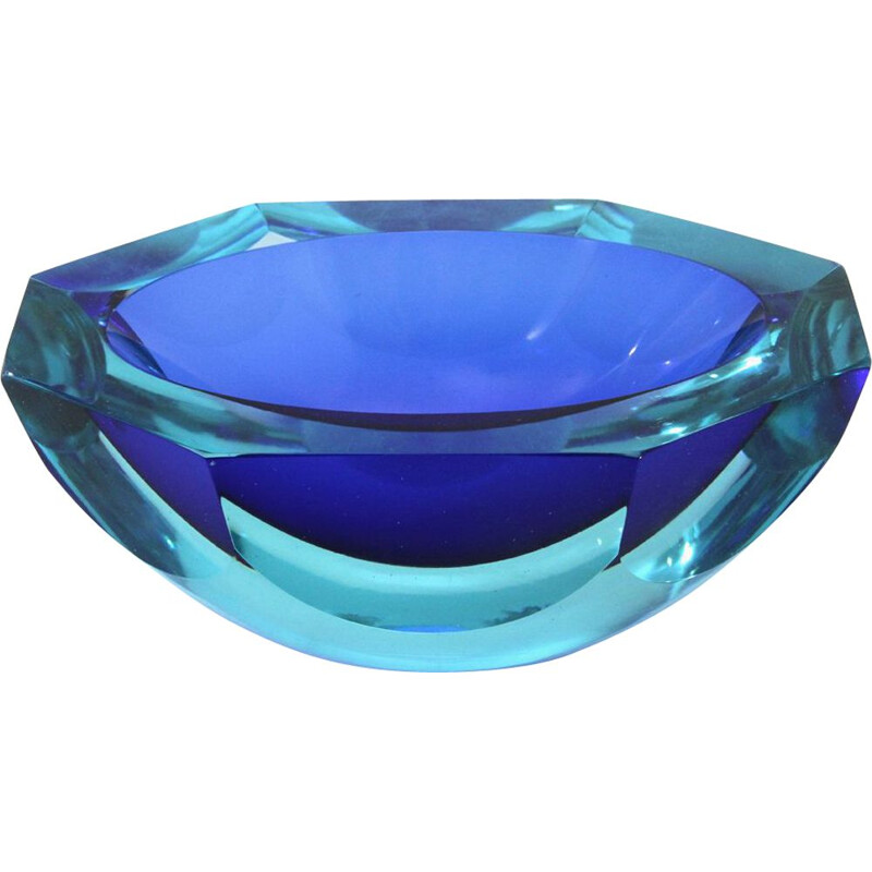 Vintage Azure and blue Murano glass bowl, 1960s