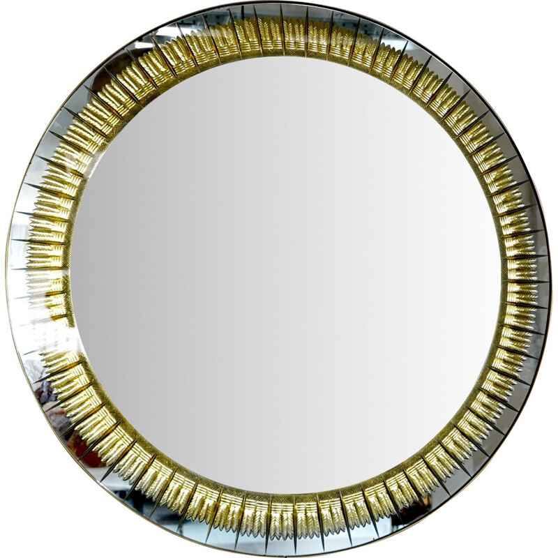 Vintage Brass and Cut Glass Cristal Art Mirror, 1960s