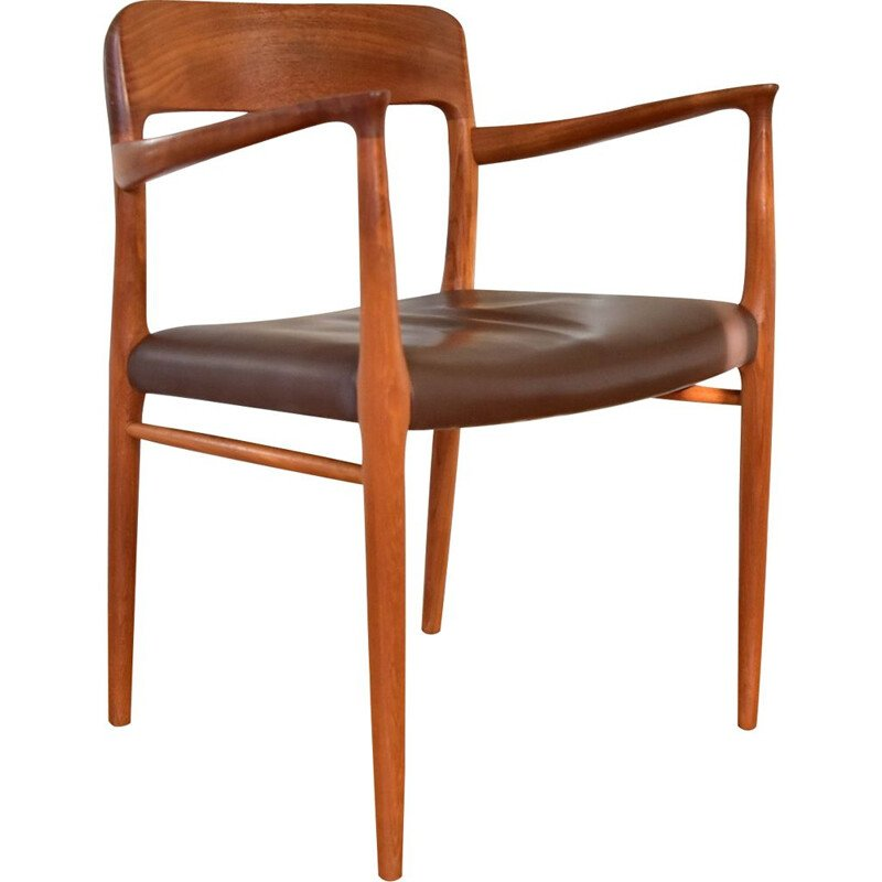 Vintage armchair Model 56 Teak leather by J.L. Møller 1960s