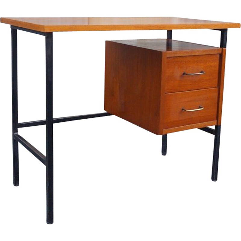 Vintage wood and steel modernist desk 1950