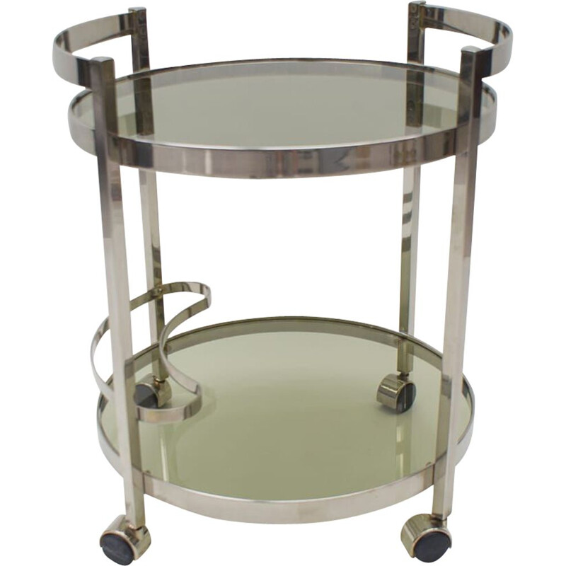 Vintage Nickel Plated and Smoked Glass Serving Trolley, 1970s