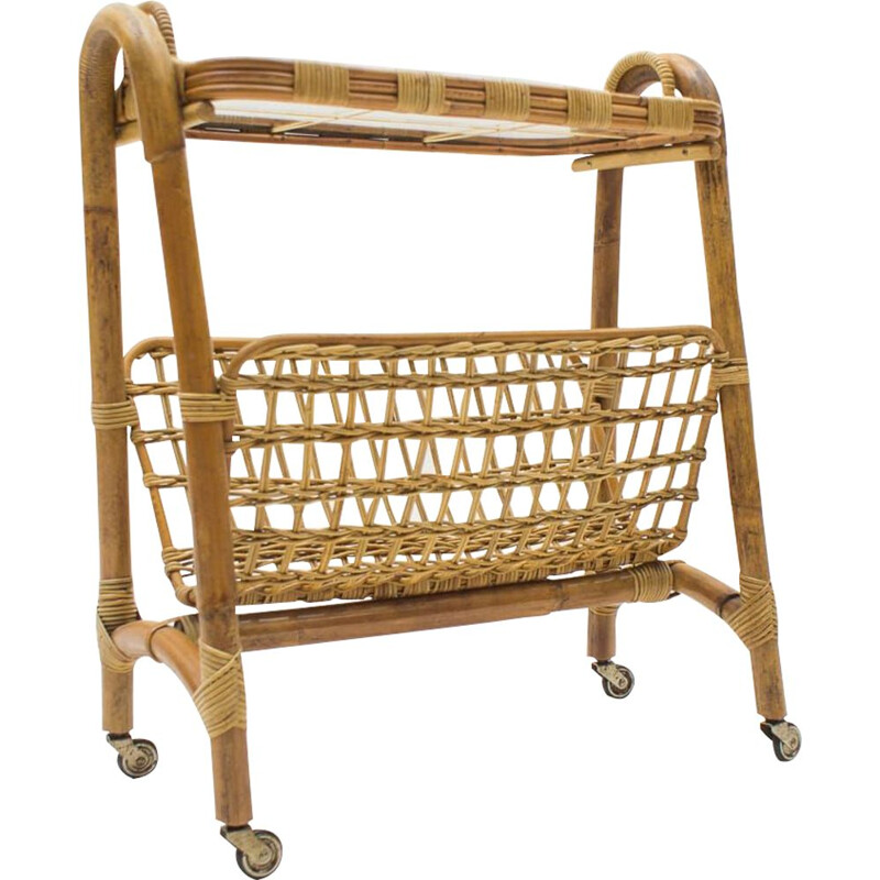 Vintage Bamboo and Rattan Bar Cart Serving Trolley, Italian 1950s