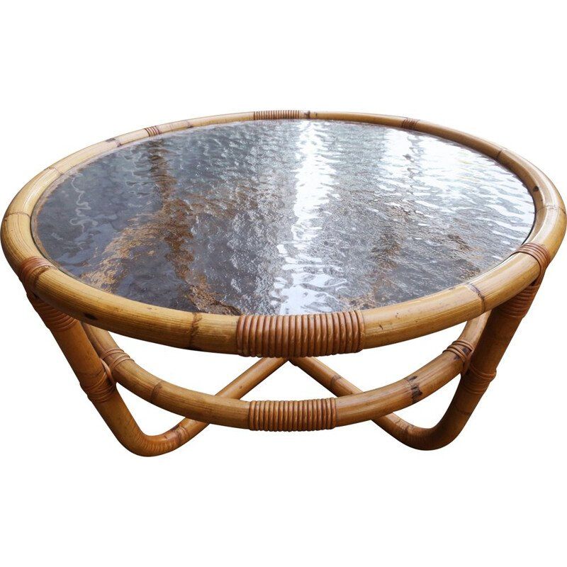 Vintage Circular bamboo and ice glass coffee table, 1960s