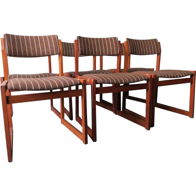 Set of 6 vintage Teak Slung Seat Chairs by K S Mobler 1960