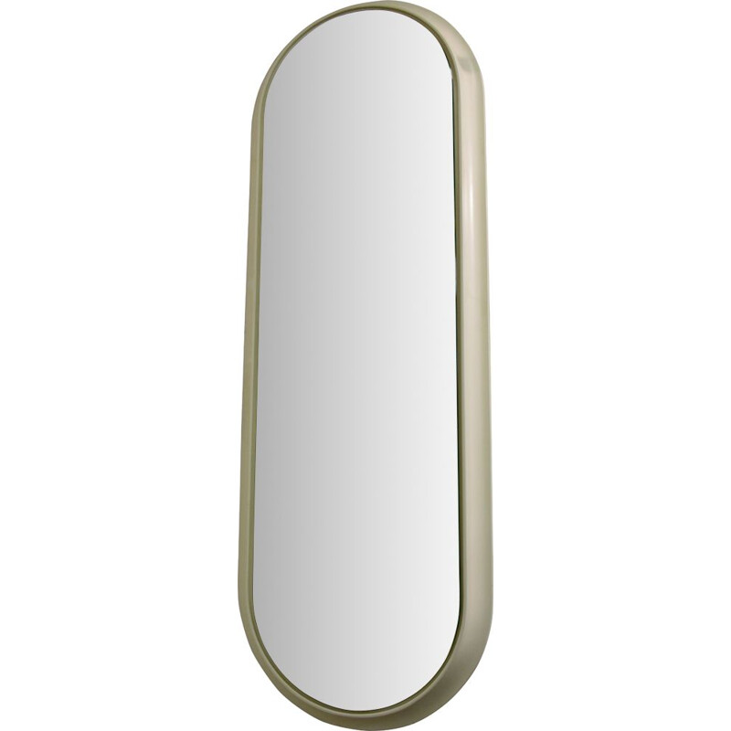 Large oval vintage mirror, white lacquered wood 1960