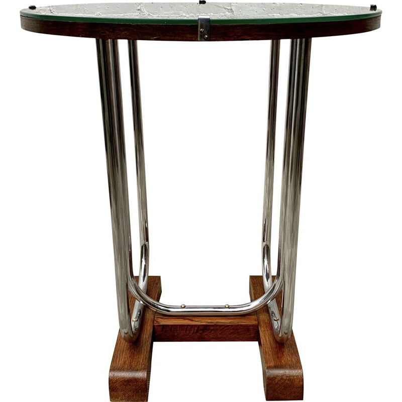 Vintage Round Side Table Chrome and Glass Art Deco