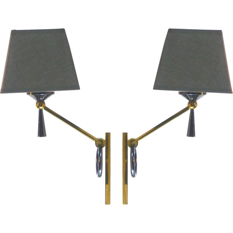 Pair of Lunel 1950 vintage wall lights