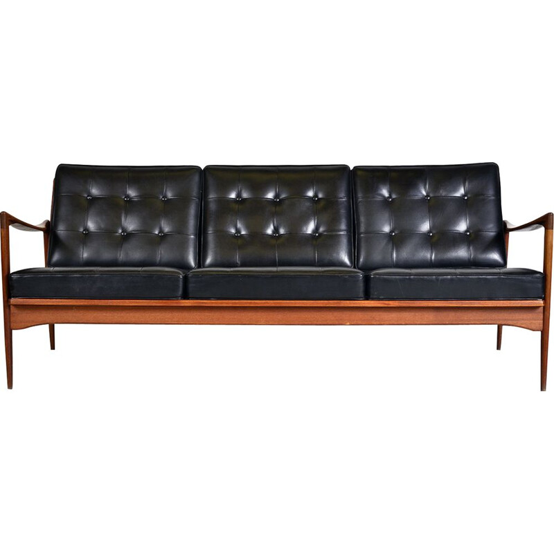 Midcentury Kandidaten Sofa Ib Kofod Larsen OPE Mobler Teak Black Leather Swedish 1960s